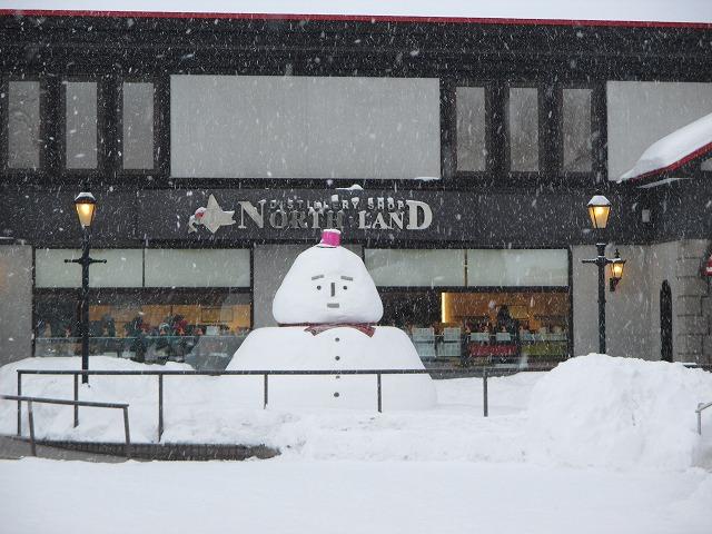降り積もる雪と雪だるま