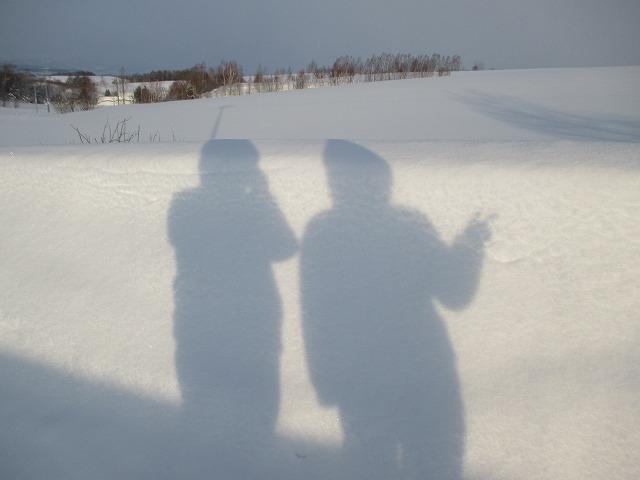 雪に移る影