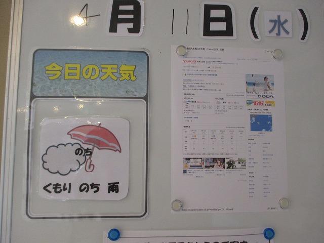 天気予報を書いたホワイトボード