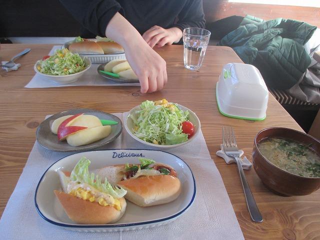 ホットドッグとサラダ