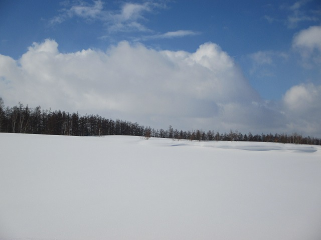 真っ白な雲と雪と青い空