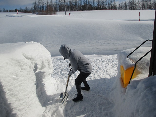雪かきをする女性
