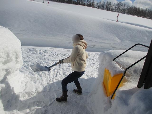 雪をシャベルで持ち上げる女性
