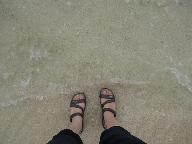 波打ち際に足をつけている