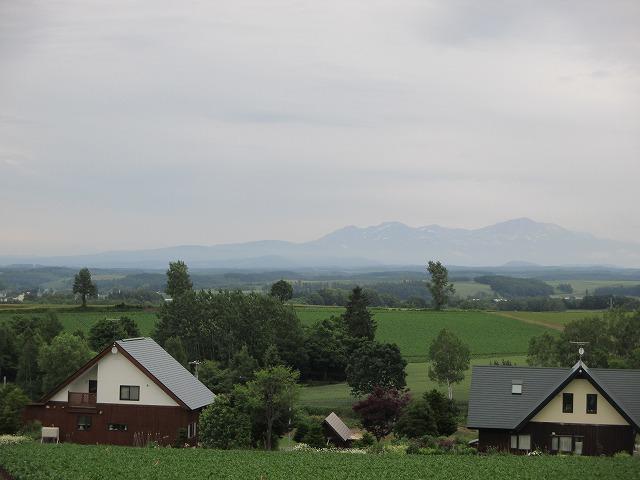 丘の中に立つ2軒の家