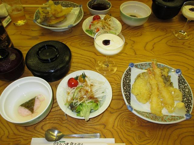 夕食の天ぷら定食