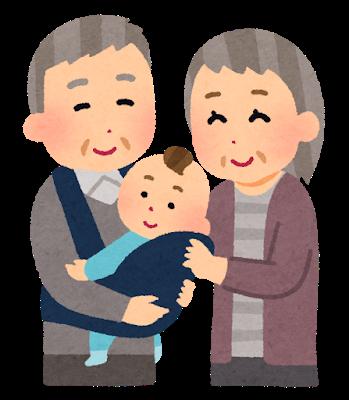 祖父母と赤ちゃんのイラスト