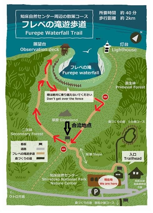 フレペの滝遊歩道の地図