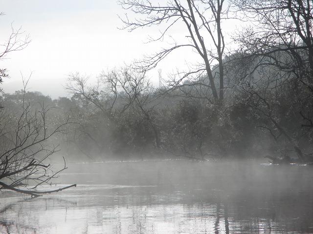 川から朝もやが上がっている