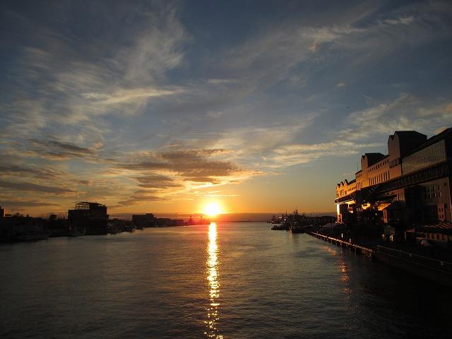 幣舞橋からの夕日