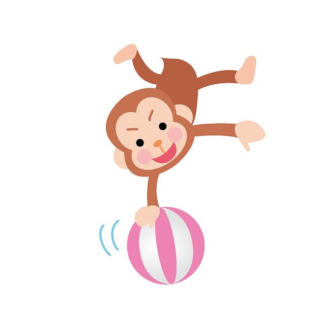 玉の上で曲芸している猿のイラスト