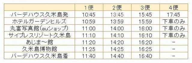 サイプレス方面バス時刻表