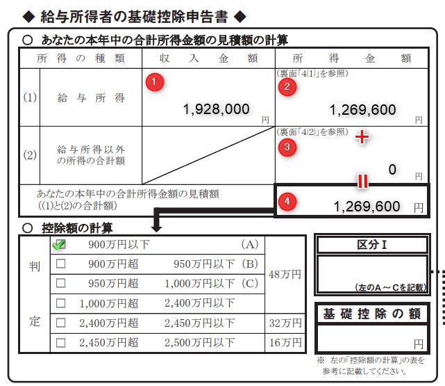 基礎控除申告書900万円以下チェック