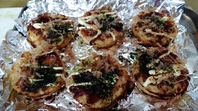 オーブントースターで焼いたミニお好み焼き