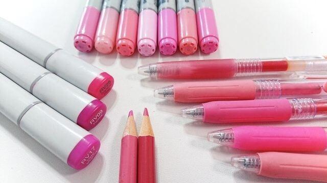いろいろなピンクのペン