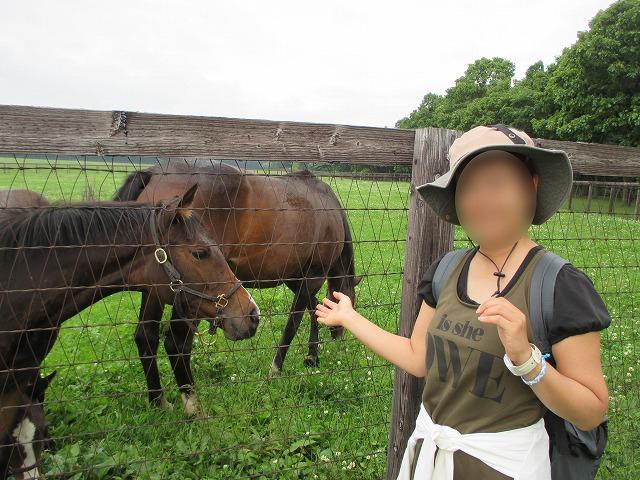 馬と帽子をかぶった女性